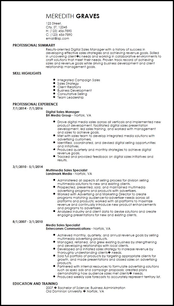 business development manager resume example. a good resume example ...