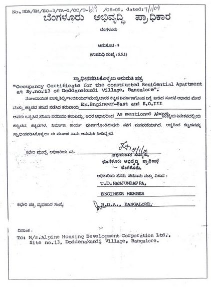 Occupancy Certificate | Whitefield Rising