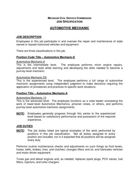 job description for mechanic field technician resume installation