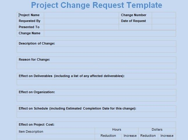 Get Change Request Template - Project Management Templates and ...