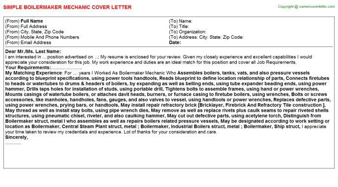 Boilermaker Apprentice Cover Letters