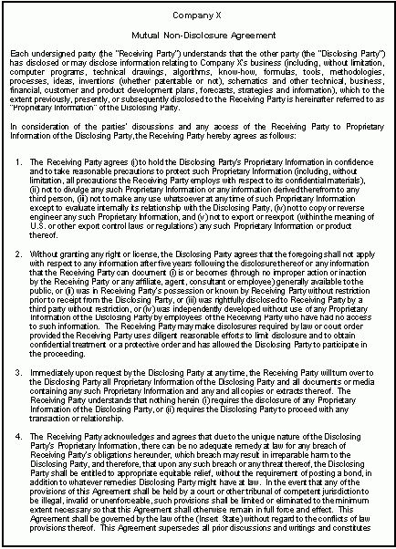 Screenshots of professional confidentiality agreement
