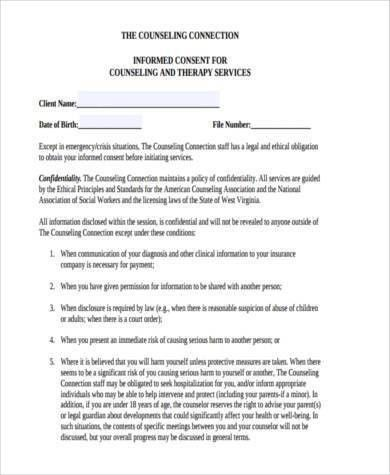 Sample Counselling Consent Forms - 8+ Free Documents in Word, PDF