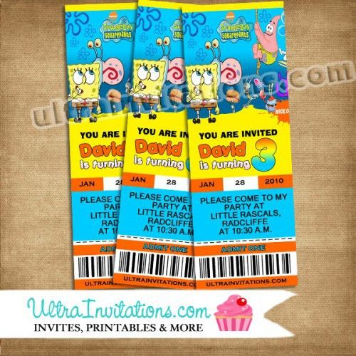 Spongebob Pass Invitations Ticket Party - Printable or Print Designs