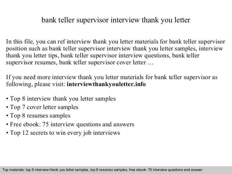 teller supervisor resumes