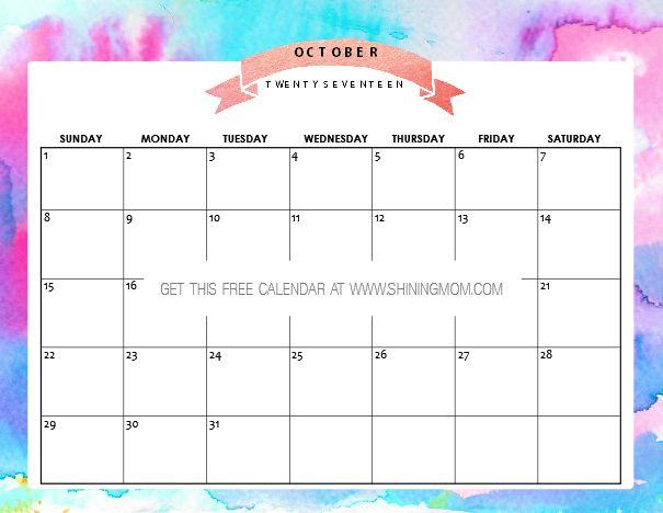 Free Printable October 2017 Calendar: 12 Awesome Designs!