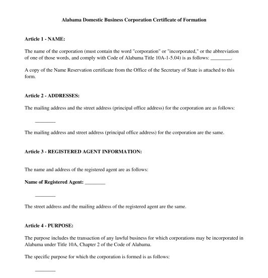 Articles of Incorporation - Template - Word & PDF