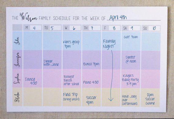 Printable Custom Family Weekly Schedule // Printable Planner