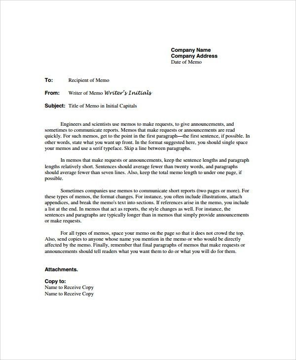 Sample Memo - 20+ Documents in PDF, Word