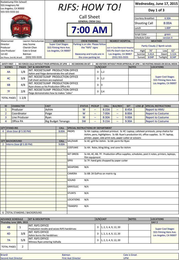 Call Sheet Template | HAISUME