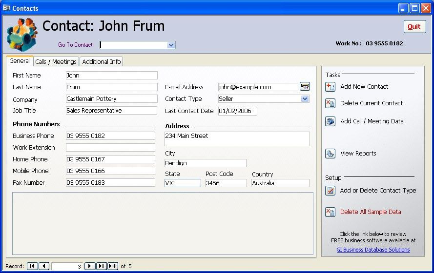 Free Access Database Samples - Contact Management Database