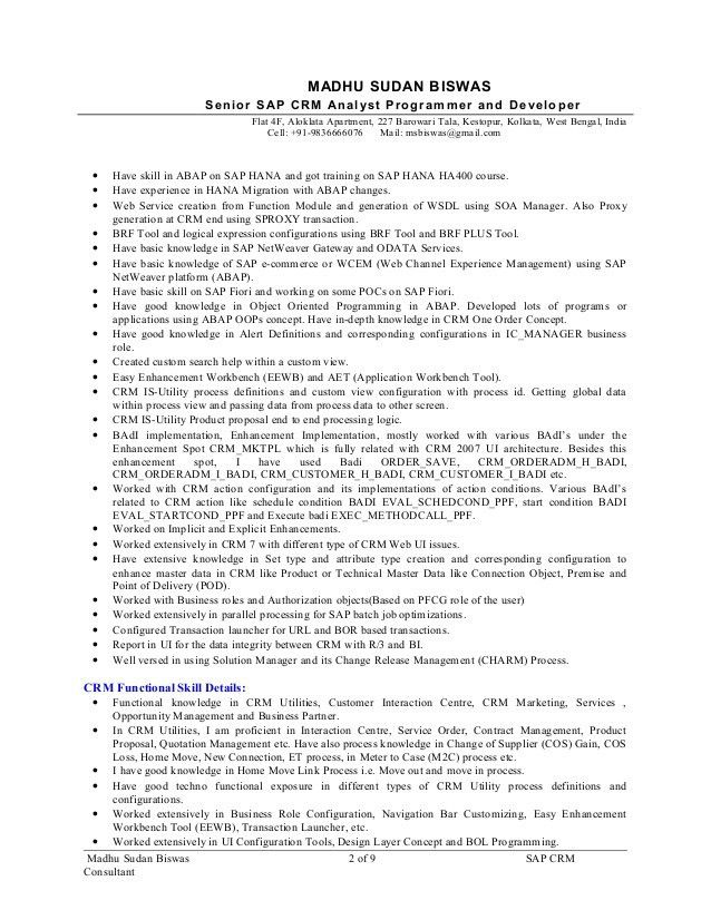 Resume_SAP CRM Consultant_ Madhusudan Biswas_9.5yrs Exp_for SAP CRM A…