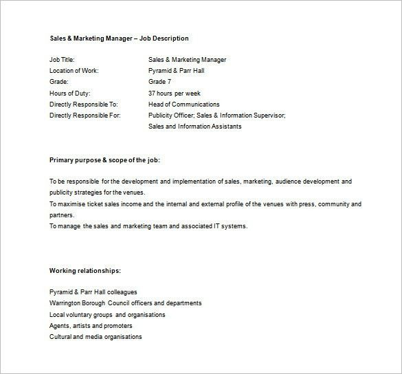 Sales Manager Job Description Template - 10+ Free Word, PDF Format ...