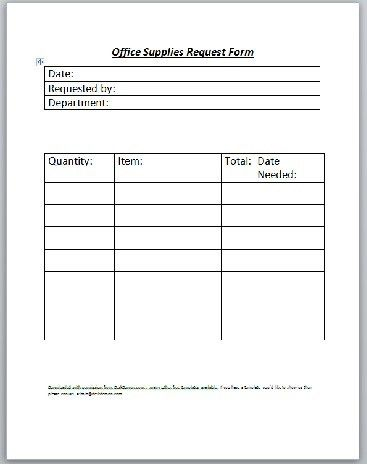 Office Supplies Request Form - Business Templates - Executive PA ...