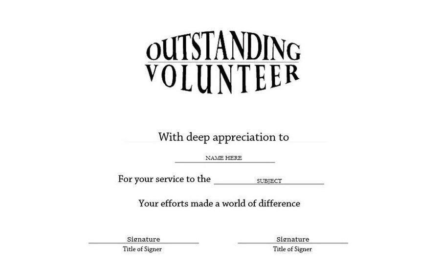 Outstanding Volunteer Certificate Landscape Free Templates Clip ...