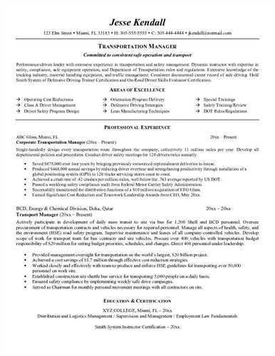 Transportation Logistics Resume