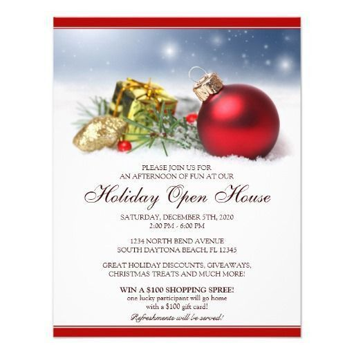 Festive Holiday Open House Invitations Template | Christmas And ...