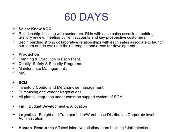 30 , 60, 90 Days Plan To Meet Goals For New Organization
