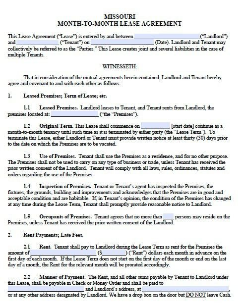Free Missouri Monthly Rental Agreement – Templates in PDF – Word