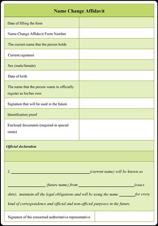 Name Change Affidavit Form – Download Free Samples for PDF, Word, ODT