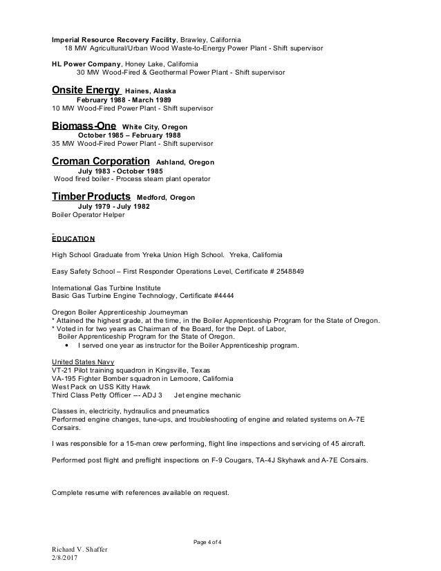 Gas Turbine Power Plant Operator Resume - Ecordura.com