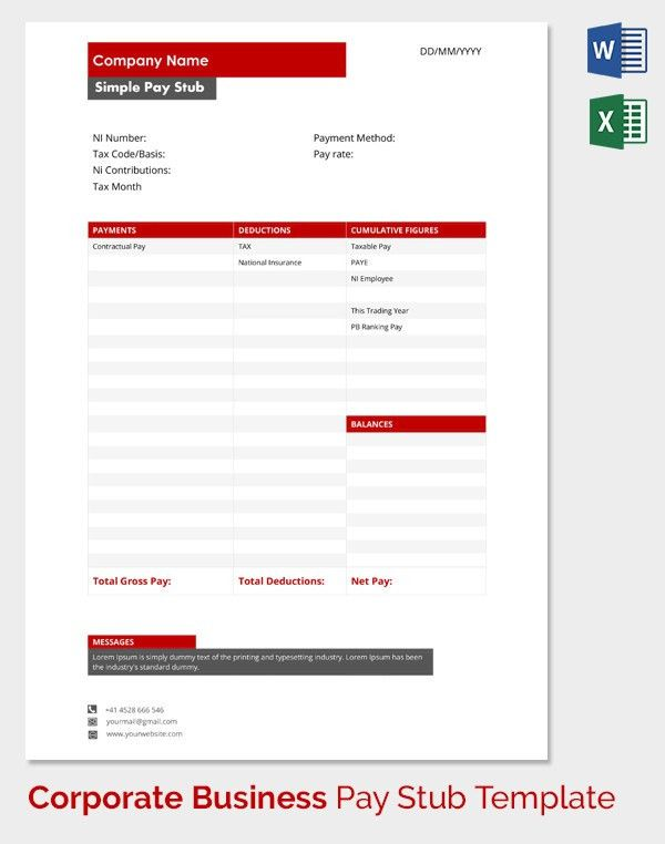 Pay Stub Template - 17+ Free Samples, Examples & Formats Download ...