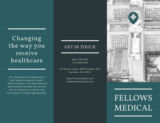 Black and Dark Teal Medical Trifold Brochure - Templates by Canva