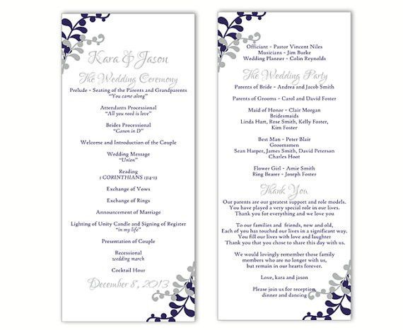 Wedding Program Template DIY Editable Word File Instant Download ...