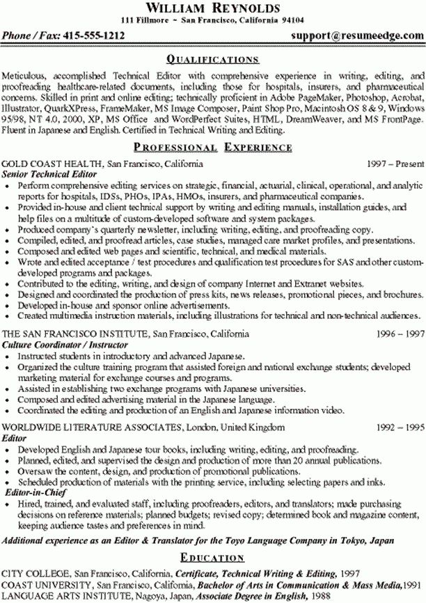 Sample Technical Resume - Technical Writer and Editor