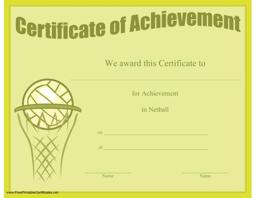 A printable certificate of achievement honoring excellence in ...