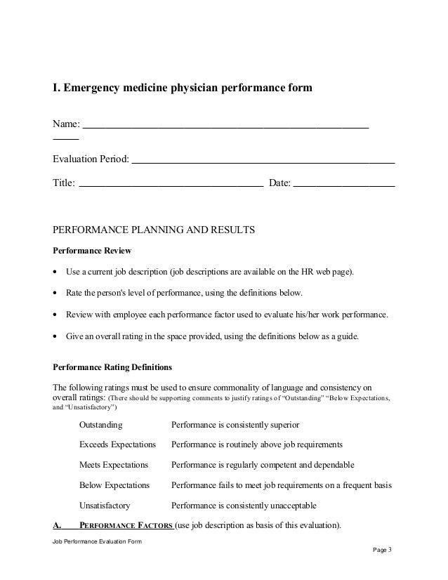 Emergency medicine physician performance appraisal