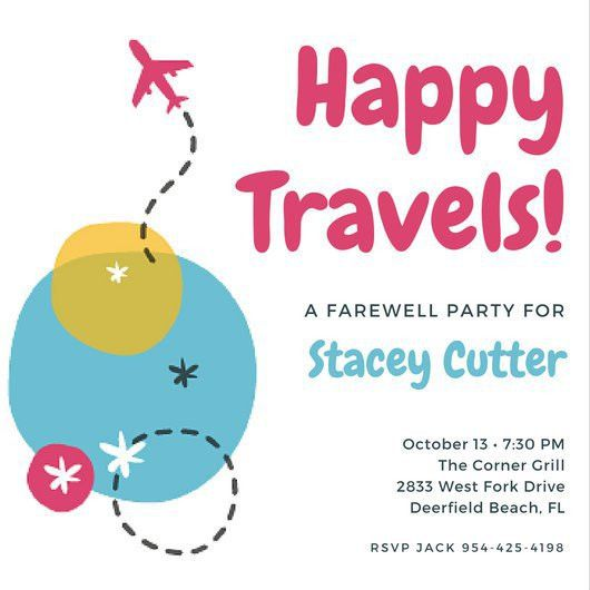 Colorful Airplane Farewell Party Invitation - Templates by Canva