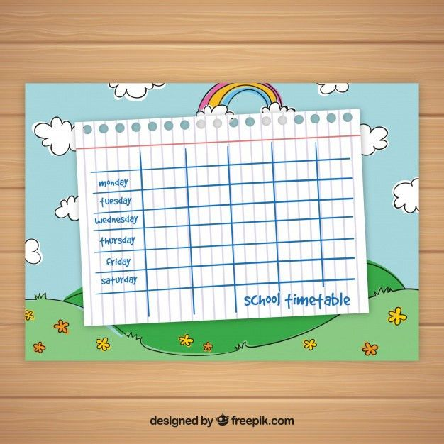 School timetable template with sky and rainbow Vector | Free Download