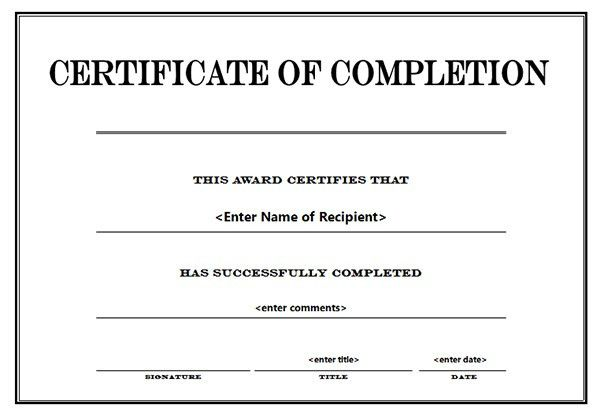 Sample Certificate Of Completion Template. Appreciation ...