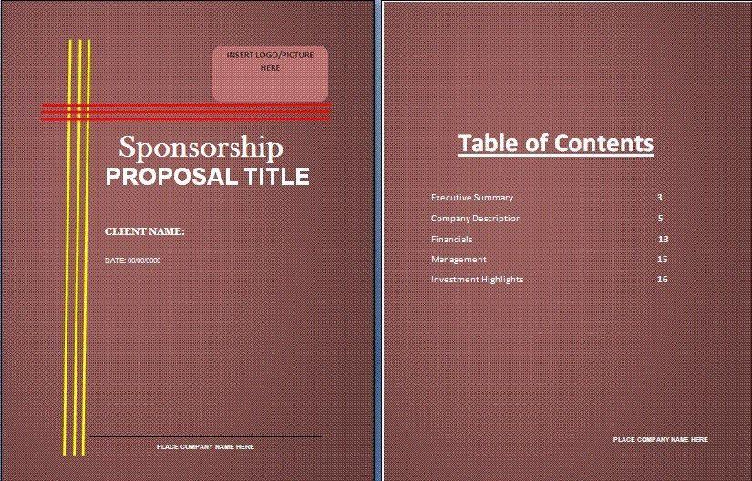Sponsorship Proposal Presentation Template - Tomyads.info