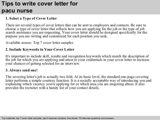 Pacu nurse cover letter