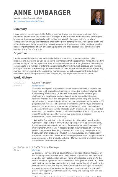 Studio Manager Resume samples - VisualCV resume samples database