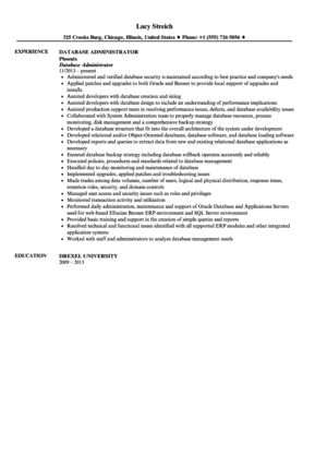 Database Administrator Resume Sample | Velvet Jobs