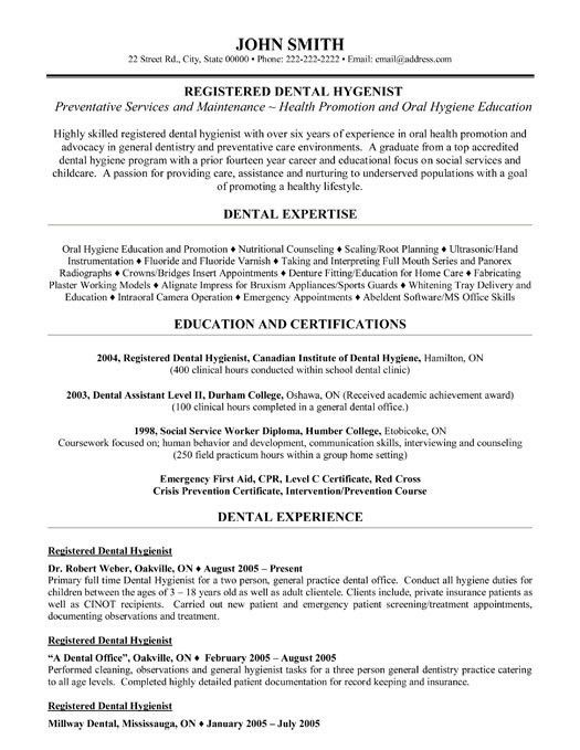 Registered Dental Hygienist Resume Template | Premium Resume ...