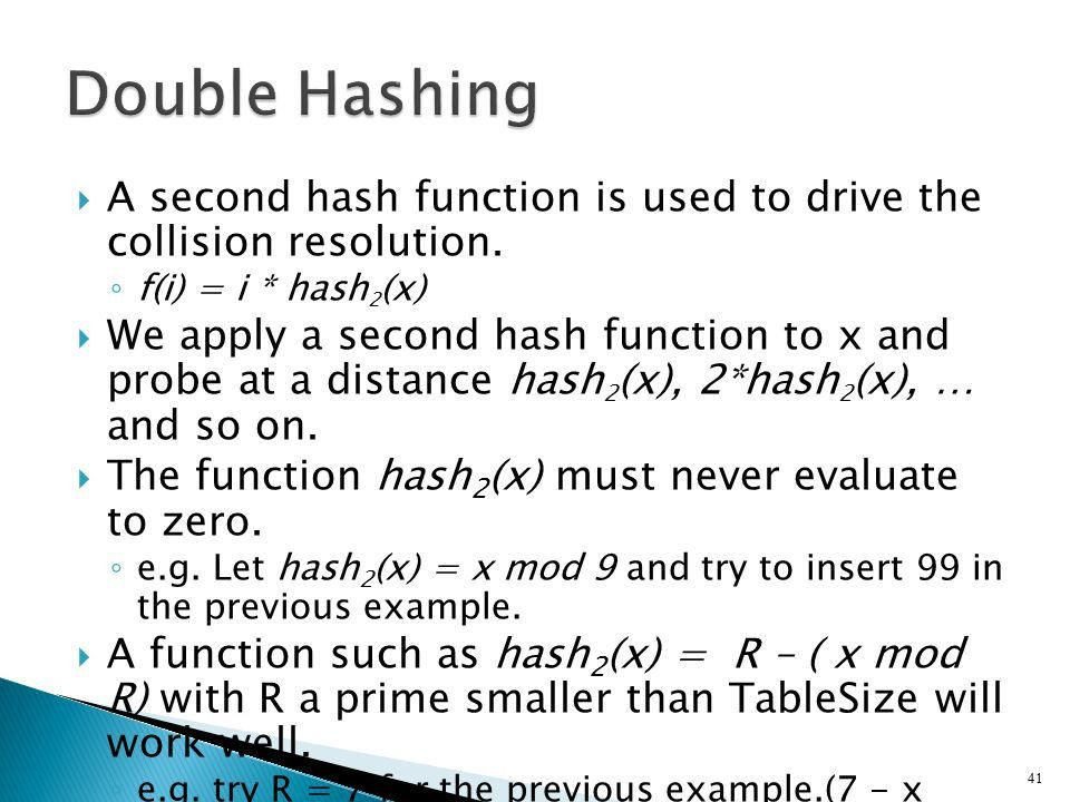 1.  We'll discuss the hash table ADT which supports only a ...