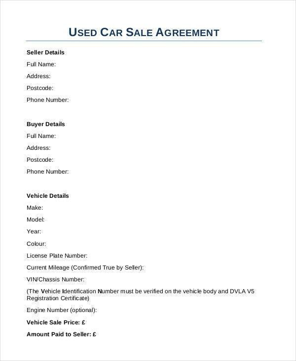 Elegant 9 Car Sales Contract   Free Sample, Example, Format Download
