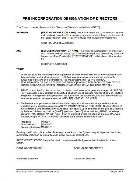 Pre-Incorporation Designation of Directors - Template & Sample ...
