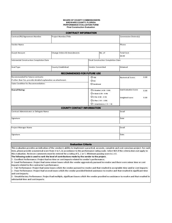 Supplier Evaluation Form - Florida Free Download