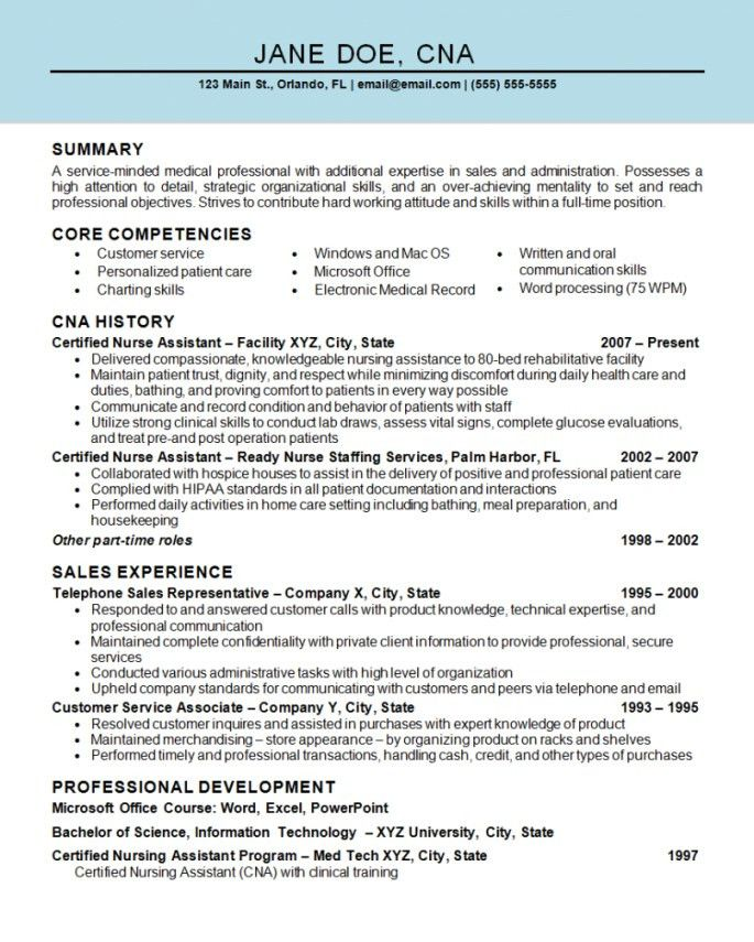Resume Examples For Nursing Assistant | Resume Examples 2017