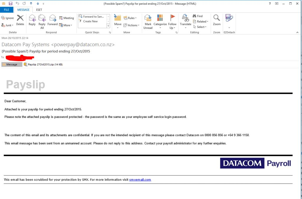 Datacom Pay Systems Payslip for period ending 27/Oct/2015 – fake ...