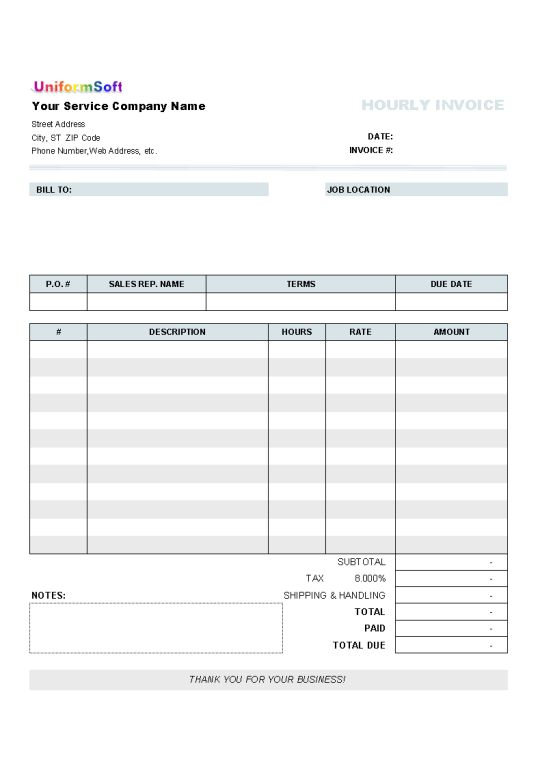 Invoice Hours Worked Template | free printable invoice