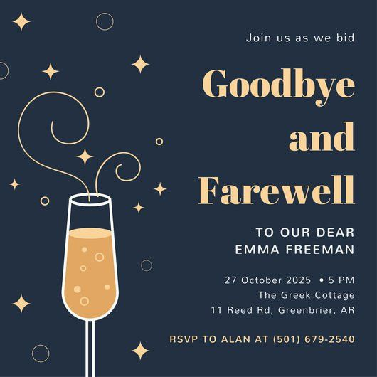 Blue and Peach Champagne Farewell Party Invitation - Templates by ...