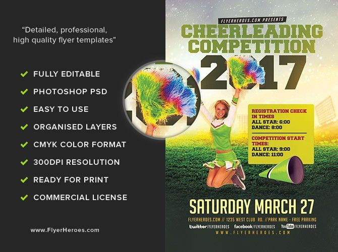 Cheerleading Competition 2017 Flyer Template - FlyerHeroes