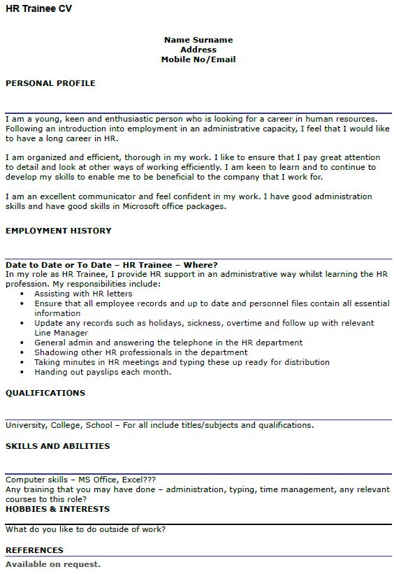 HR Trainee CV Example - icover.org.uk