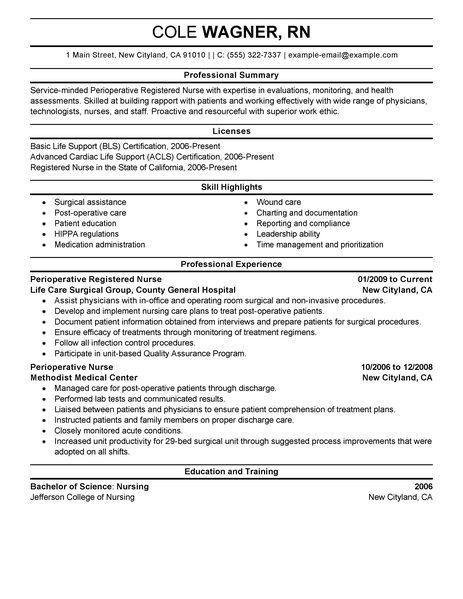 Best Perioperative Nurse Resume Example | LiveCareer